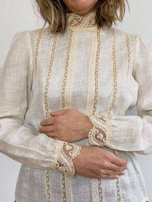 IRISH LINEN 80s BLOUSE / SMALL