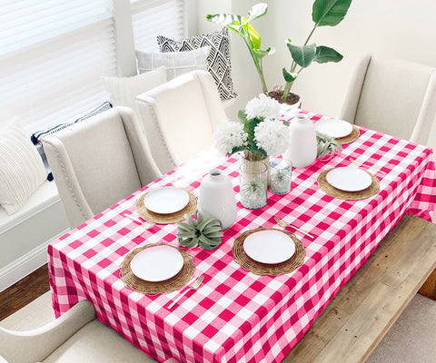 Red and pink check and pink tablecloth