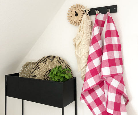 Buffalo Check  Pink and White Dish Towels