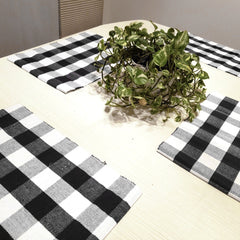 Plaid Placemats - Set of 4 (Black and White)