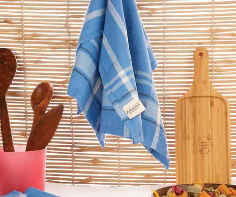 blue french stripe dish towel