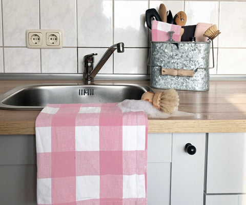 light pink dish towel