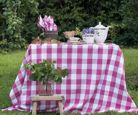 pink checkered tablecloth