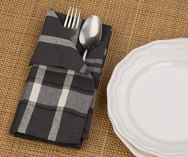 French Striped Grey Napkins Kitchen Napkins (18 x 18) All Cotton and Linen
