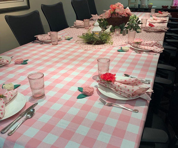 Pink Check Tablecloth, Rectangle Cotton Tablecloths