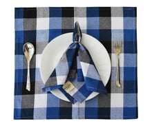 Load image into Gallery viewer, Blue and White Checkered Napkins Set of 6.