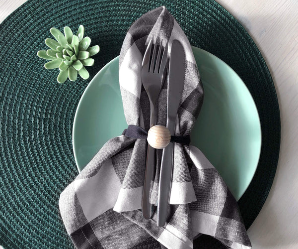 Grey Cloth Napkins | checkered Table Nakins | Set of 6
