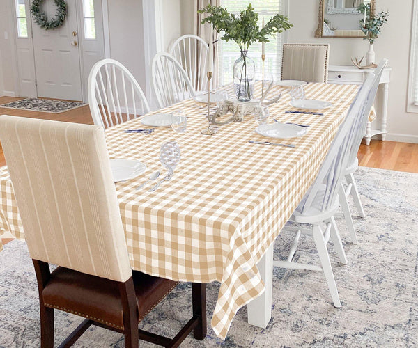 Tablecloth With Hemstitched corners - (Beige and Cream)