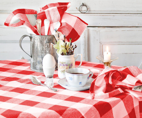 Buffalo Plaid Tablecloth Rectangle- Navy and Cream