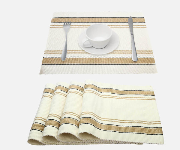 Beige Striped Placemats - Set of 4