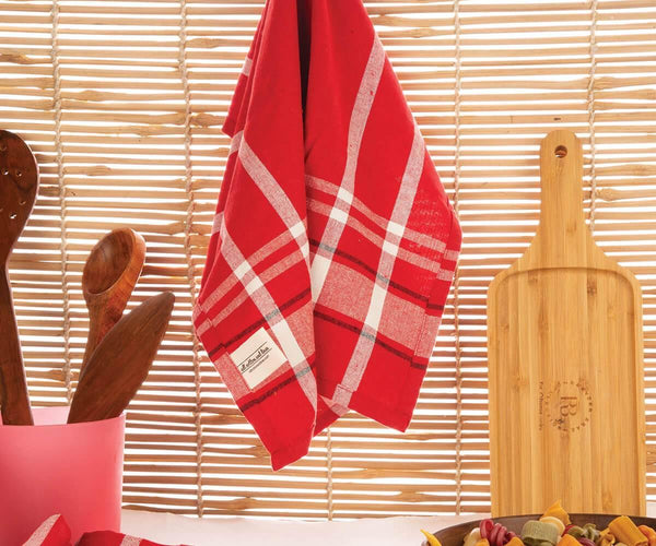 Red Stripes Dishcloths Tea Towels