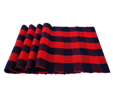 Load image into Gallery viewer, red and black buffalo plaid placemats