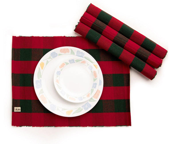Red and Green Placemats - Red Plaid Placemats Set of 4