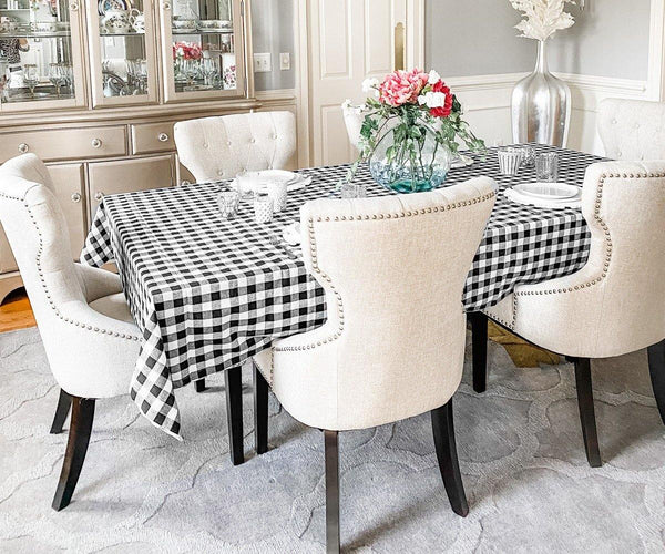 Black and White Plaid Tablecloth.