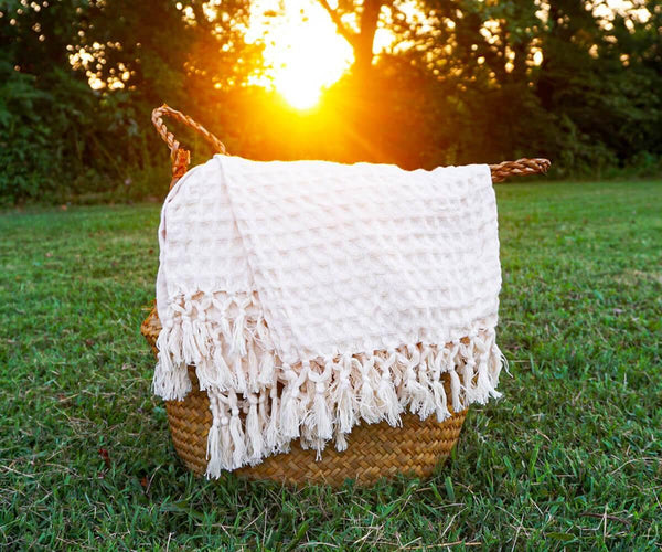 Woven Cotton Throw Blanket Natural All Cotton and Linen
