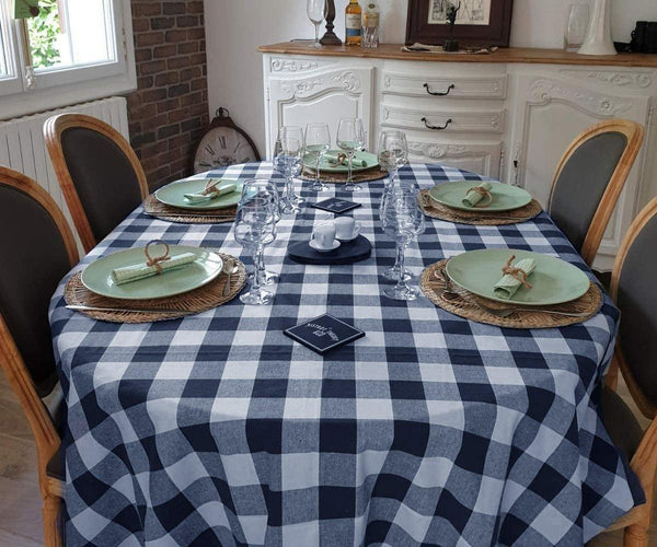 Checkere Round Tablecloths, Navy and White
