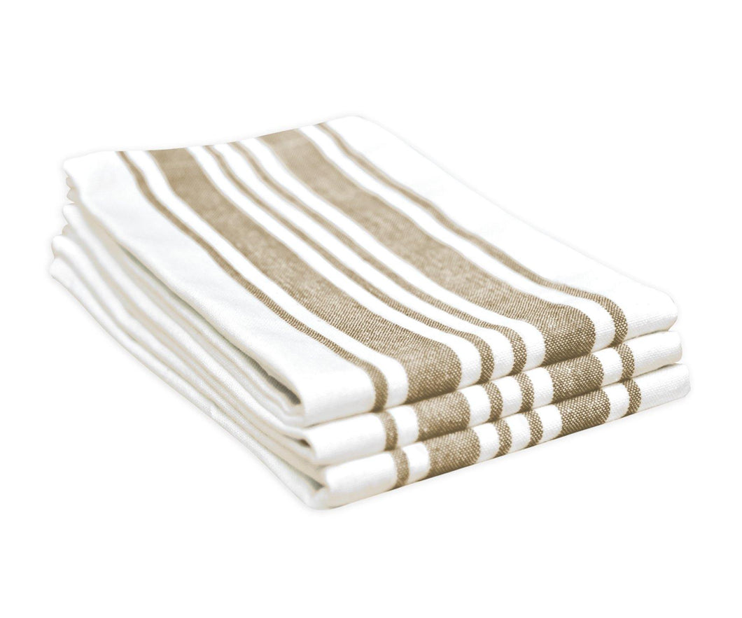 Country Striped Dishtowel - Beige Stripe Cotton Tea Towels - Set of 3