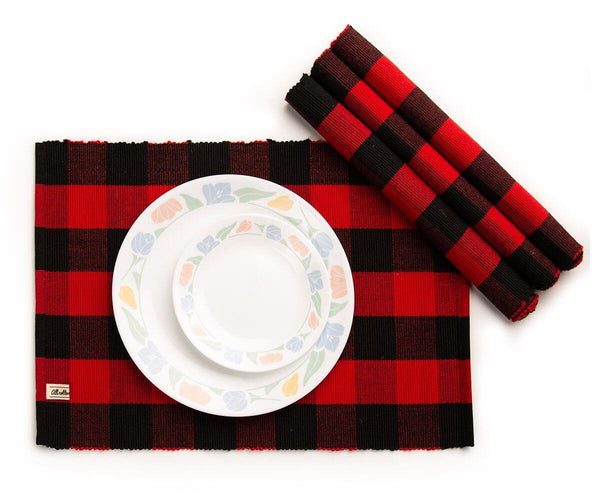 Red and Black Placemats, Ribbed Cotton Placemats Set of 4