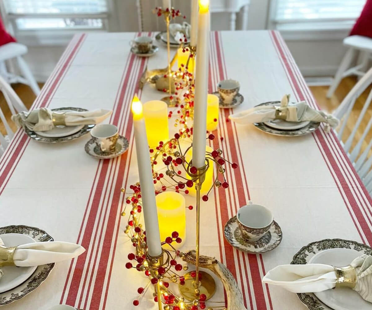 Red and White Striped Tablecloth