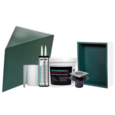 Shower System Accessory Pack #1 Includes Shower Seat, Waterproofing, Gauging Fabric, Sealant, Shower Drain, Shower Niche