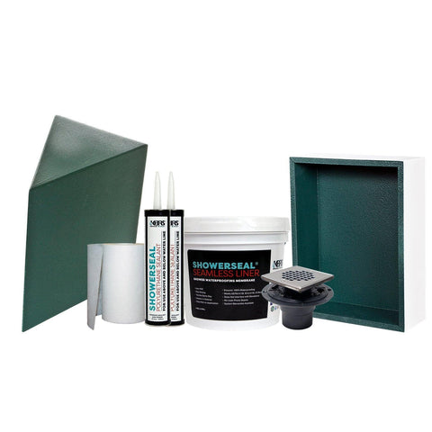 Shower System Accessory Pack #2 with Shower Niche, Corner Shower Seat, Gauging Fabric, Sealant, Shower Drain