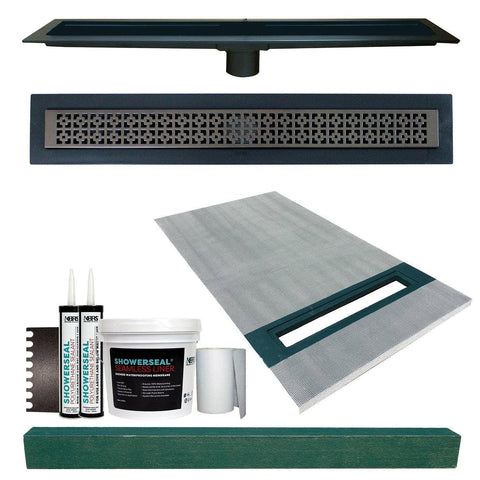 "Linear Shower Kit 36"" x 60"" Right (Oil Rubbed Bronze Mission Style Linear Grate with Drain Body)"