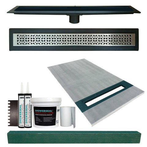 "Linear Shower Kit 36"" x 60"" Right (Stainless Steel Mission Style Linear Grate with Drain Body)"