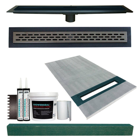 "Linear Shower Kit 36"" x 60"" Right (Oil Rubbed Bronze Oval Style Linear Grate with Drain Body)"