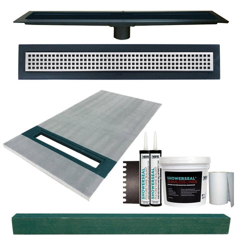 "Linear Shower Kit 36"" x 60"" Left (Polished Steel Square Style Linear Grate with Drain Body)"