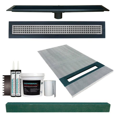 "Linear Shower Kit 36"" x 60"" Right (Stainless Steel Square Style Linear Grate with Drain Body)"