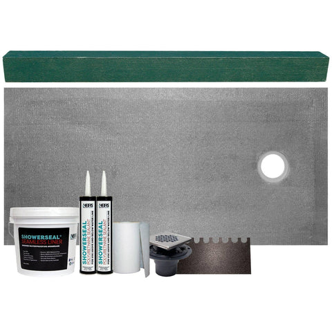 "Cut-to-Fit 34"" X 60"" (Right Drain) Tile Shower Base Kit"