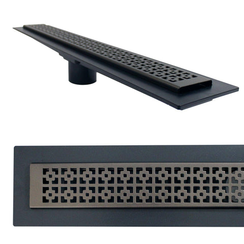 "Linear Shower Drain Mission Grate 24"" Oil Rubbed Bronze (Drain Body Included 26"")"