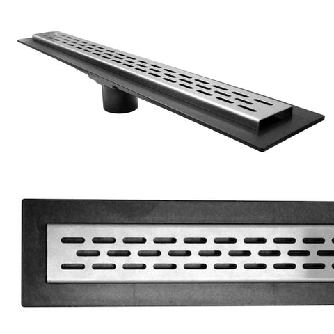 Stainless Steel Oval Style Linear Drain Grate with ABS Drain Body - KBRS - ShowerBase.com