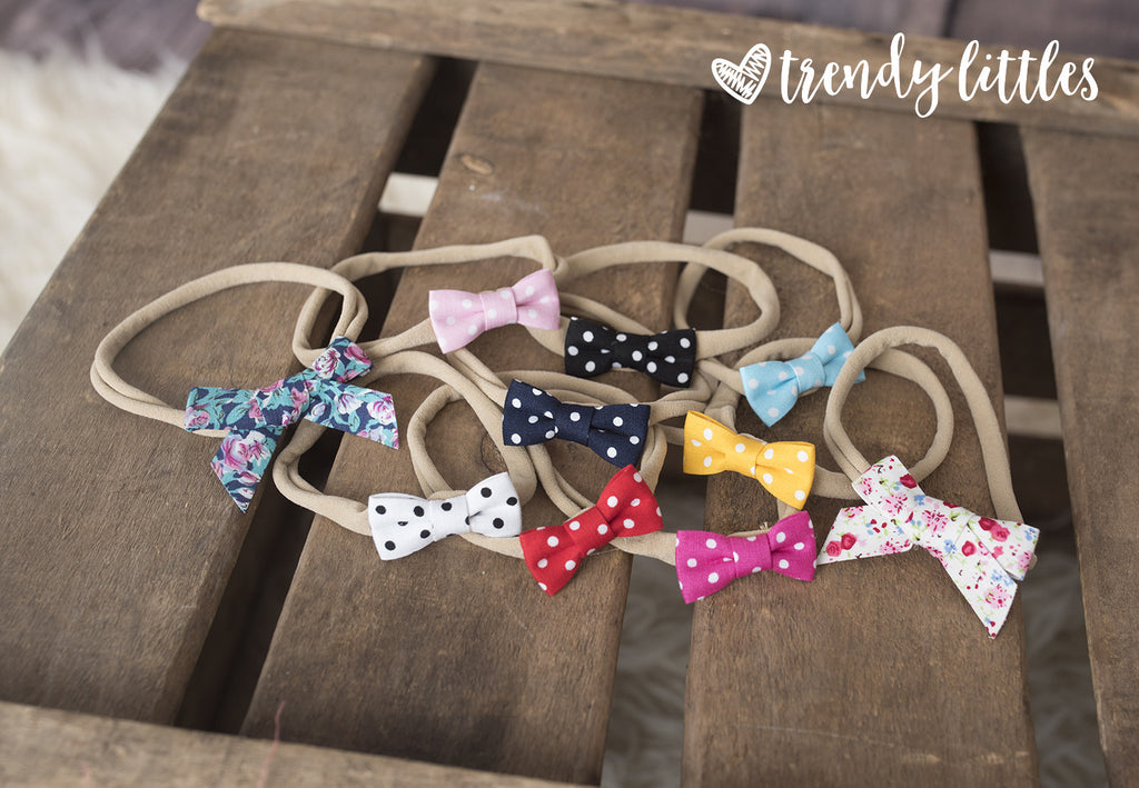 Organic tiny bow headbands
