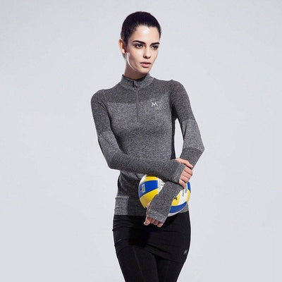 Yoga Shirts - Womens Quick Dry Breathable Long Sleeve Zipper Shirt