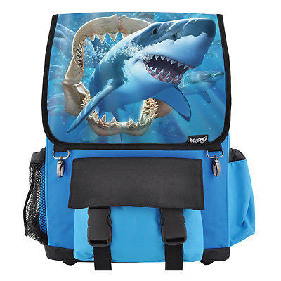 Great White Shark Jaws School Backpack, Book Bag for Boys, Girls, Kids