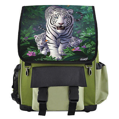 White Tiger & Cubs School Backpack, Book Bag for Boys, Girls, Kids