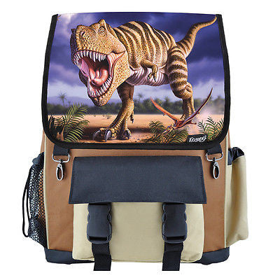 Striped T-Rex Dinosaur School Backpack, Book Bag for Boys, Girls, Kids