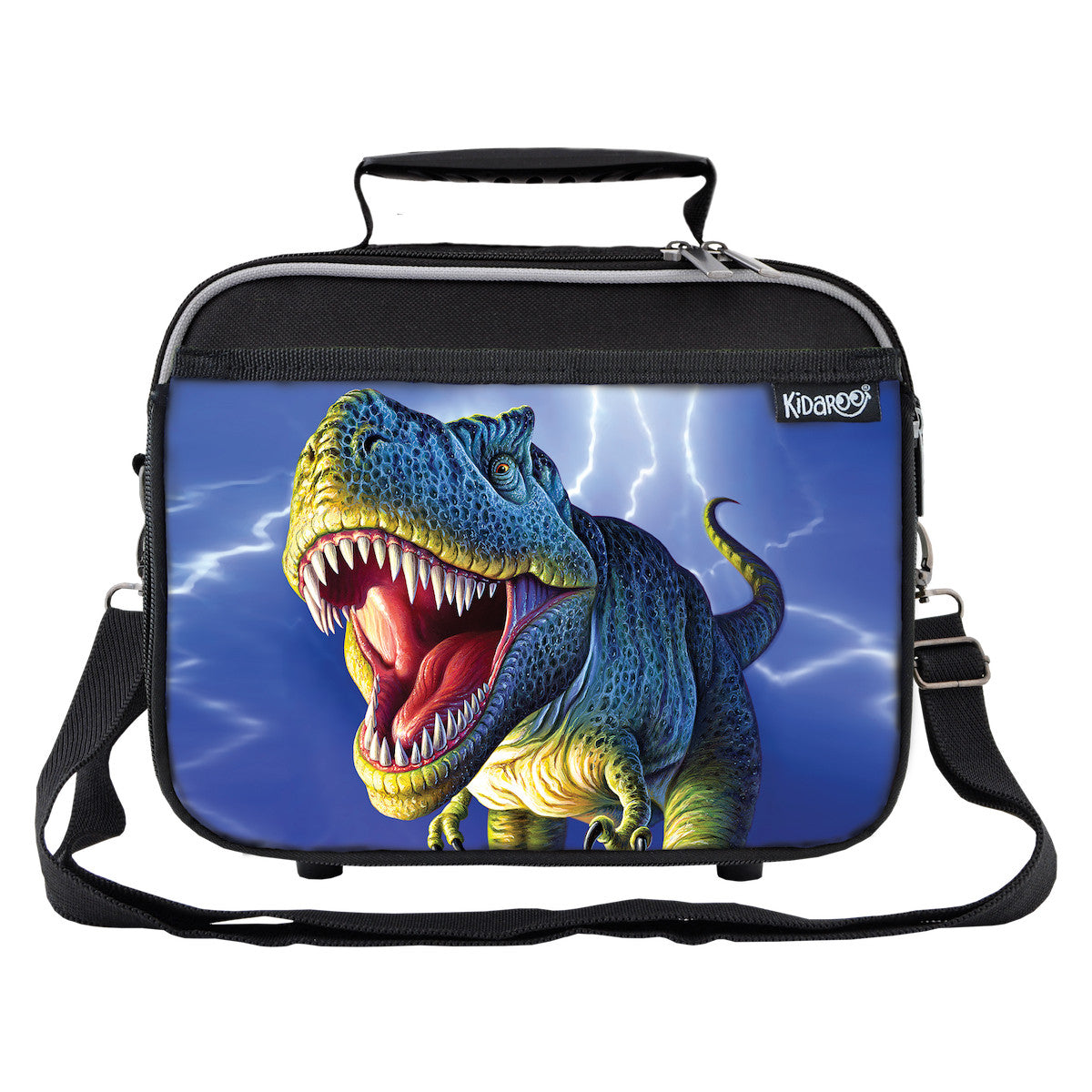 Kidaroo Black Lightning Rex Dinosaur School Lunchbox Tote for Boys, Girls