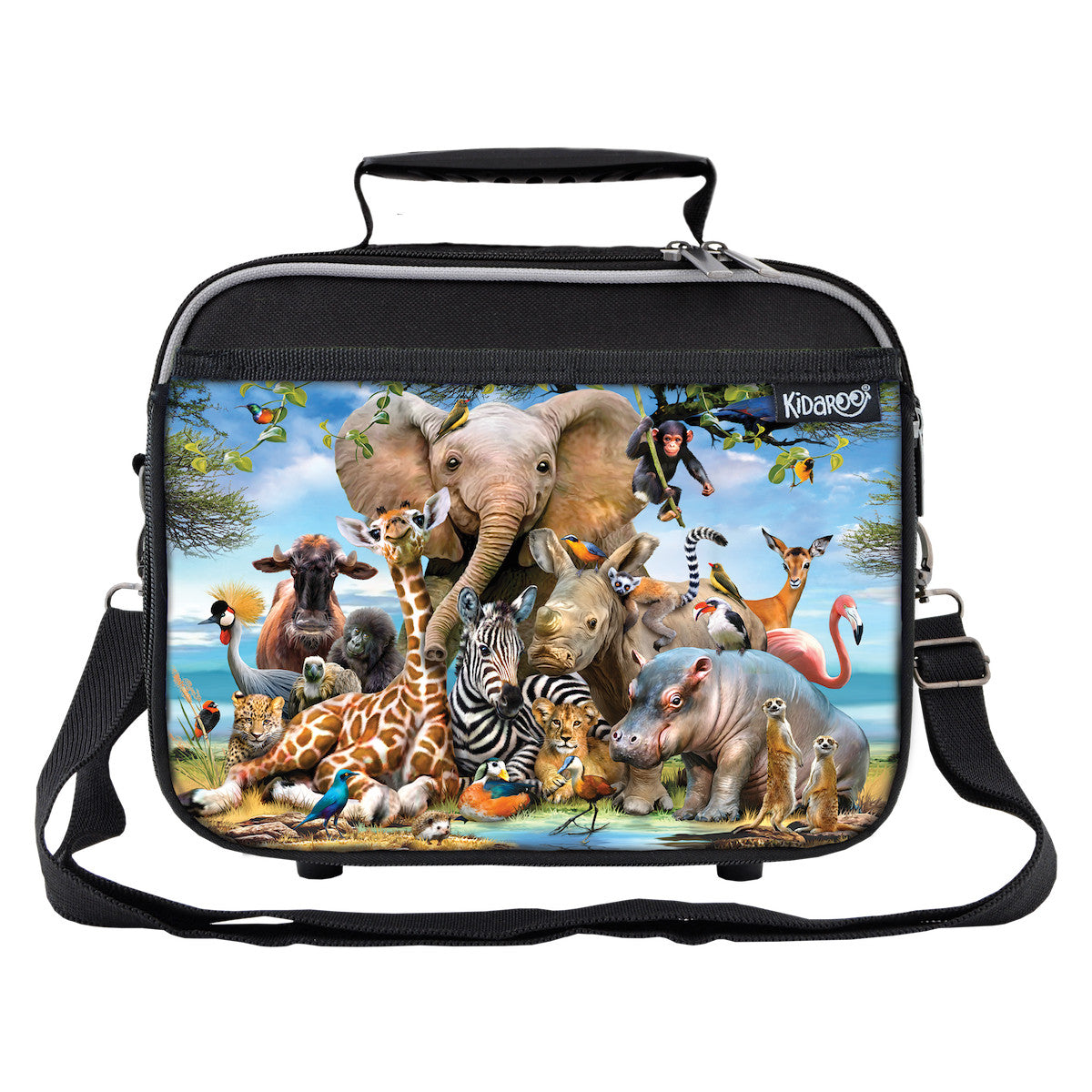 Safari Smile Zoo Animals School Lunchbox, Tote Bag for Boys, Girls, Kids