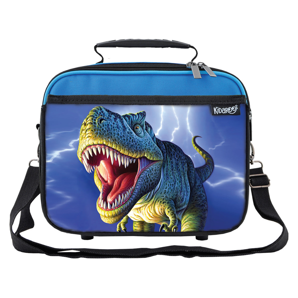 Kidaroo Blue Lightning Rex Dinosaur School Lunchbox Tote for Boys, Girls
