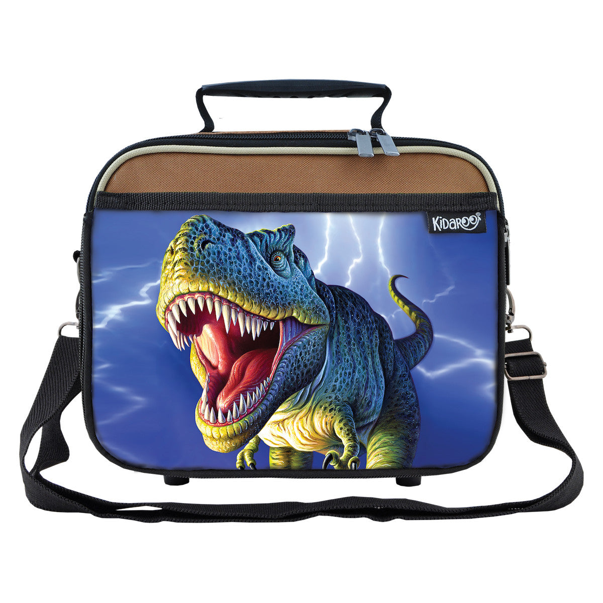 Kidaroo Brown Lightning Rex Dinosaur School Lunchbox Tote for Boys, Girls