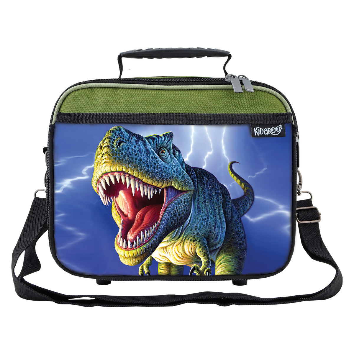 Kidaroo Khaki Green Lightning Rex Dinosaur School Lunchbox Tote for Boys, Girls
