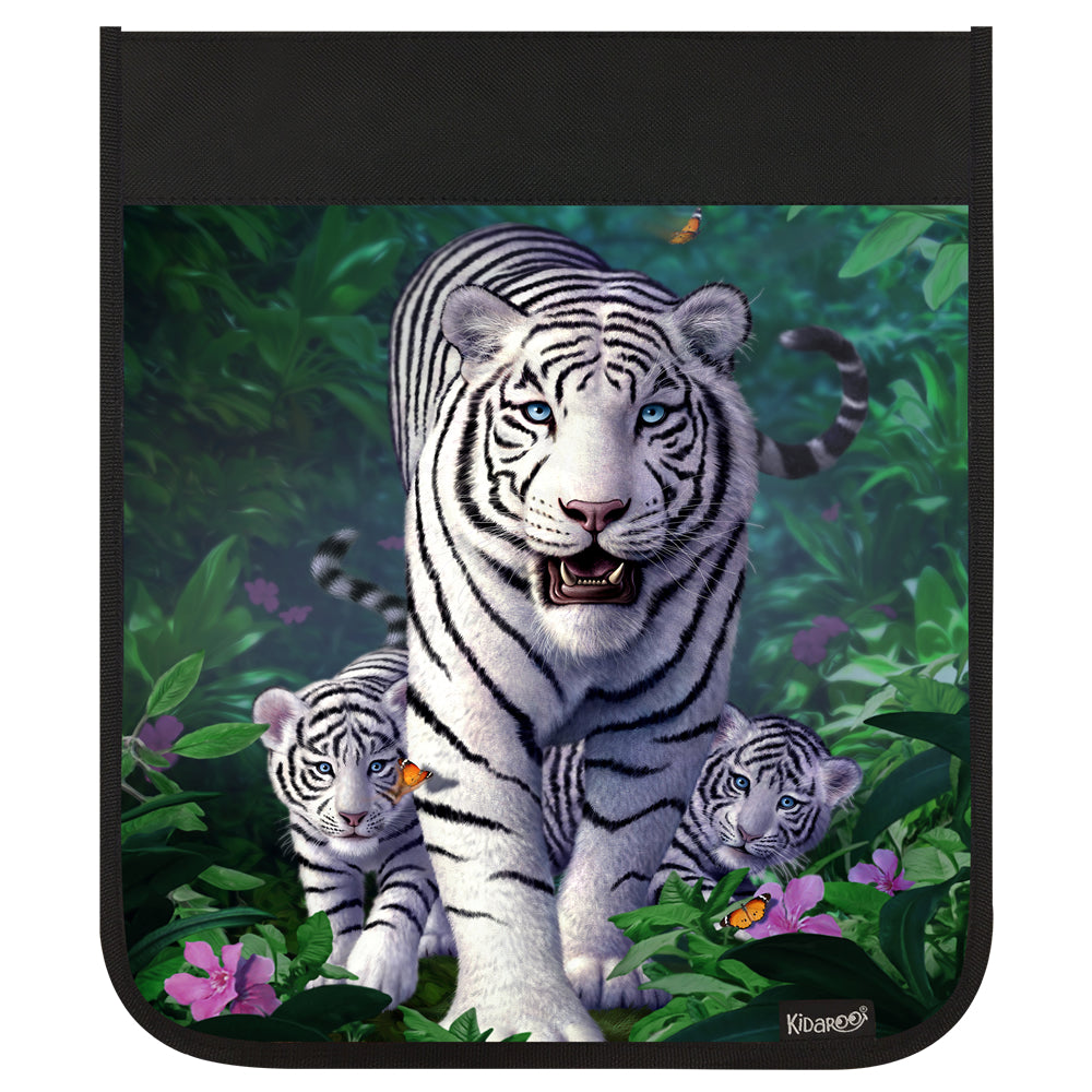 Kidaroo White Tiger and Cubs Backpack Flap