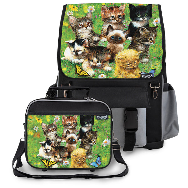 Kidaroo Black Cute Little Kittens School Backpack & Lunchbox Set for Boys, Girls, Kids