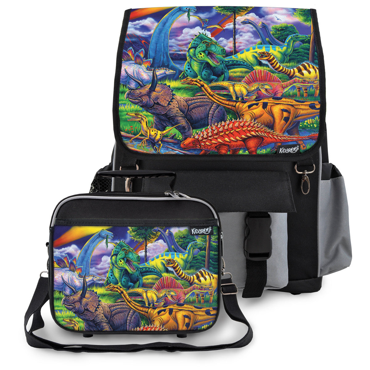 Kidaroo Black Dinosaur Jungle School Backpack & Lunchbox Set for Boys, Girls, Kids