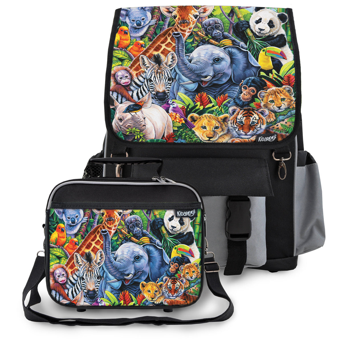 Kidaroo Black Jungle Babies School Backpack & Lunchbox Set for Boys, Girls, Kids