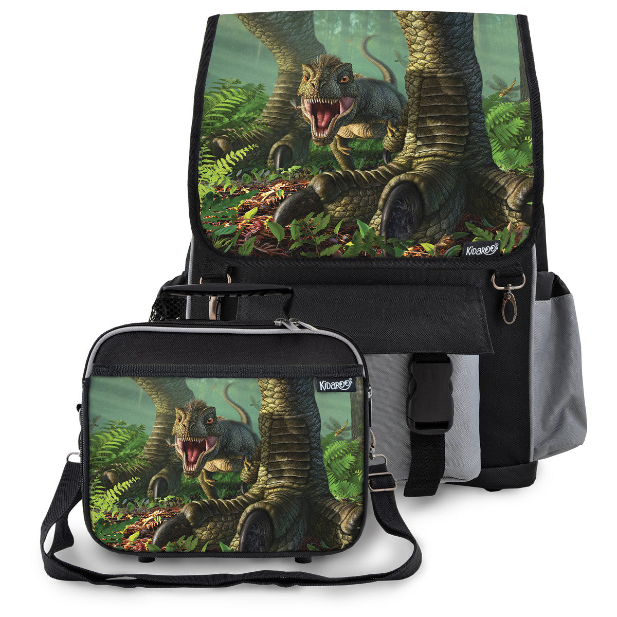 Kidaroo Black Baby Wee Rex Dinosaur School Backpack & Lunchbox Set for Boys, Girls, Kids
