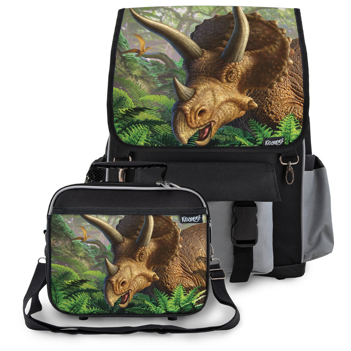 Kidaroo Black Triceratops Dinosaur School Backpack & Lunchbox Set for Boys, Girls, Kids
