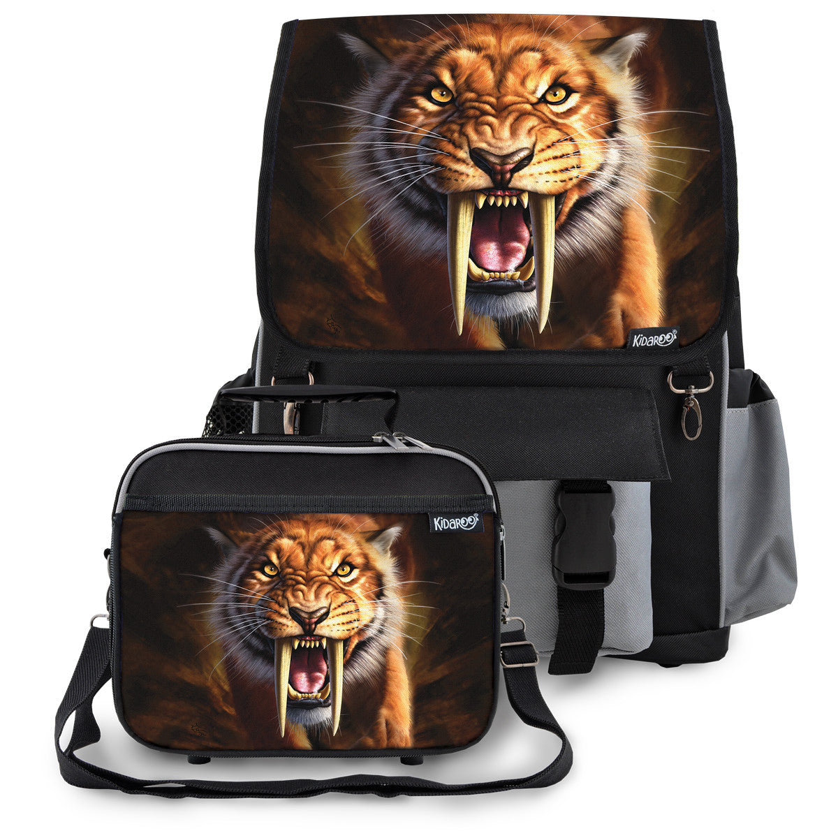 Kidaroo Black Saber Tooth Tiger School Backpack & Lunchbox Set for Boys, Girls, Kids